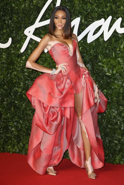 Model Winnie Harlow arrives at The Fashion Awards 2019 held at Royal Albert Hall on December 02, 2019 in London, England. (Photo by Stephen Lock/i-Images)