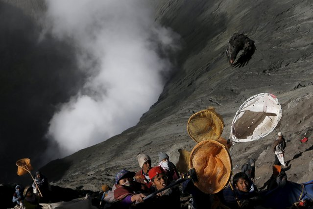 Villagers hold nets as try to catch offerings thrown by Hindu worshippers during the Kasada Festival at the crater of Mount Bromo, in Probolinggo, Indonesia's East Java province August 1, 2015. (Photo by Reuters/Beawiharta)