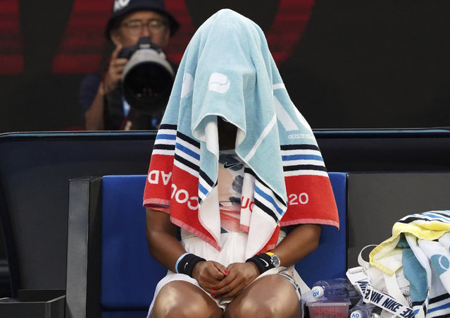 Japan's Naomi Osaka sits with her towel over her head during a break in her third round loss to Coco Gauff of the U.S. at the Australian Open tennis championship in Melbourne, Australia, Friday, January 24, 2020. (Photo by Lee Jin-man/AP Photo)