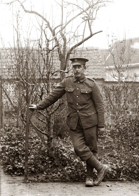 These images, scanned from old glass negatives which had surfaced in northern France, were believed to have been taken by a local amateur photographer in 1916. They showed British and a few Australian soldiers, in formal or informal poses, during or just before the most murderous battle in the history of the British Empire – Battle of the Somme. Who are these British and British Empire soldiers? The identity of the soldiers is, and may always remain, a mystery. (Property of Bernard Gardin/Dominique Zanardi/Joel Scribe/The Independent Magazine)