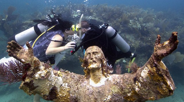 Kimberly Triolet (L) and Jorge Rodriguez of Miami, Florida, kiss after exchanging wedding vows beside a 9-foot statue of Jesus in John Pennekamp Coral Reef State Park in Key Largo, Florida, August 25, 2015. The ceremony marked the 50th anniversary since the statue was submerged on August 25, 1965. (Photo by Bob Care/Reuters/Florida Keys News Bureau)