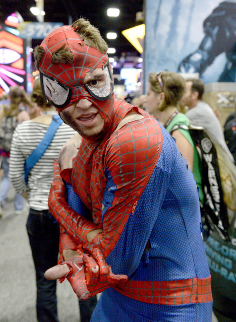 Spider-Man cosplayer attends Comic-Con International 2016 preview night on July 20, 2016 in San Diego, California. (Photo by Matt Cowan/Getty Images)