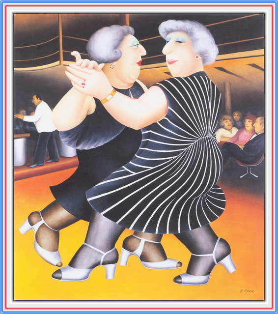 Dancing on the QE2. Artwork by Beryl Cook