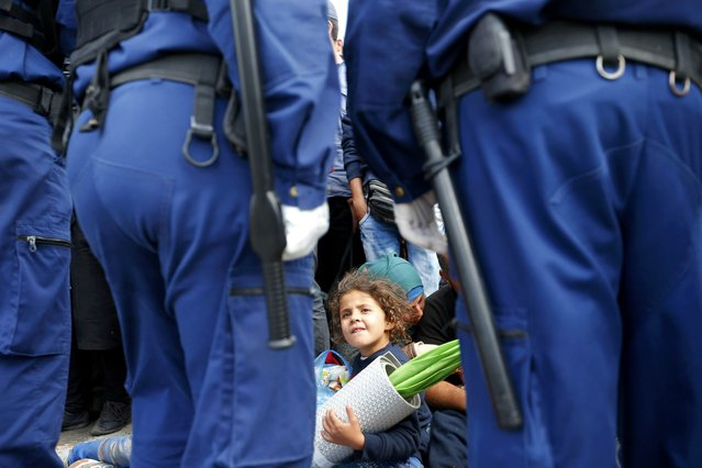Migrants wait for buses behind police officers at a collection point in the village of Roszke, Hungary, September 7, 2015. The EU executive has drawn up a new set of national quotas under which Germany will take in more than 40,000 and France 30,000 of a total of 160,000 asylum-seekers it says should be relocated from Italy, Greece and Hungary, an EU source said on Monday. Hungary is the main entry point for migrants into Europe's borderless Schengen zone. (Photo by Laszlo Balogh/Reuters)