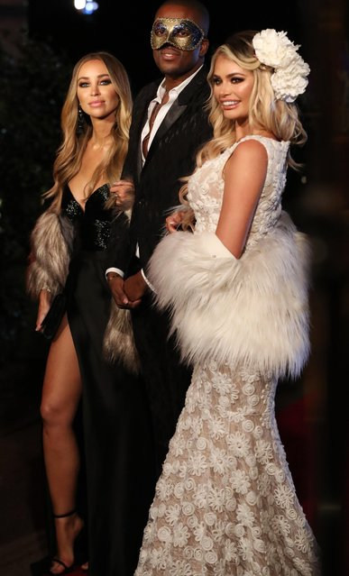"""Lauren Pope, Chloe Sims and Vas J. Morgan attend """"The Ony Way Is Essex"""" season finale filming in Wintney, Hook, England on October 29, 2017. (Photo by Beretta/Sims/Rex Features/Shutterstock)"""