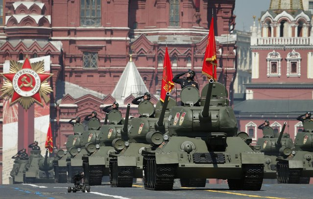 Soviet tanks T-34 roll toward Red Square during the Victory Day military parade marking the 75th anniversary of the Nazi defeat in Moscow, Russia, Wednesday, June 24, 2020. (Photo by Alexander Zemlianichenko/AP Photo)
