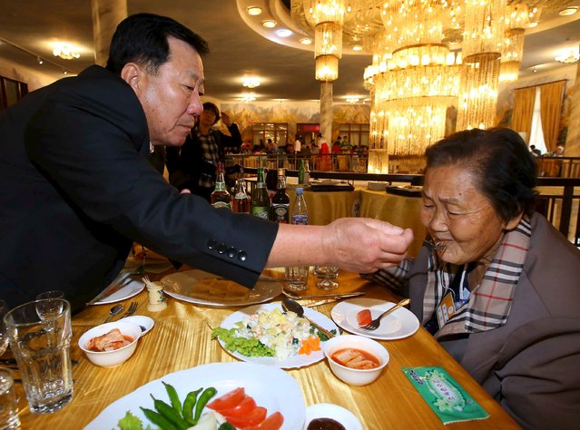 South Korean Park Mun-su (L), 71, feeds his North Kroean sister Park Mun Kyung, 83, at a group luncheon during the separated family reunions  at Mount Kumgang resort, North Korea, October 21, 2015. (Photo by Reuters/Yonhap)