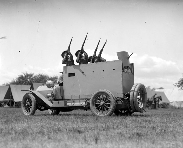 Riot car used by policemen with powerful rifles hid behind steel plates with gun outlets, 1920 – 1929 (approximate). (Photo by Leslie Jones)