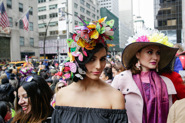 A participant poses for a photograph at the annual Easter Parade and Bonnet Festival in the Manhattan borough of New York City, New York, U.S. on April 1, 2018. (Photo by Gaia Squarci/Reuters)