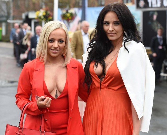 Racegoers during Ladies Day at the Grand National Festival at Aintree Racecourse on April 13, 2018 in Liverpool, England. (Photo by BackGrid)