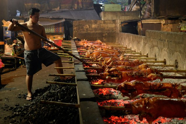 A worker roasts a row of pigs on bamboo poles at a roasting pit, in Manila, Philippines, December 21, 2020. (Photo by Lisa Marie David/Reuters)