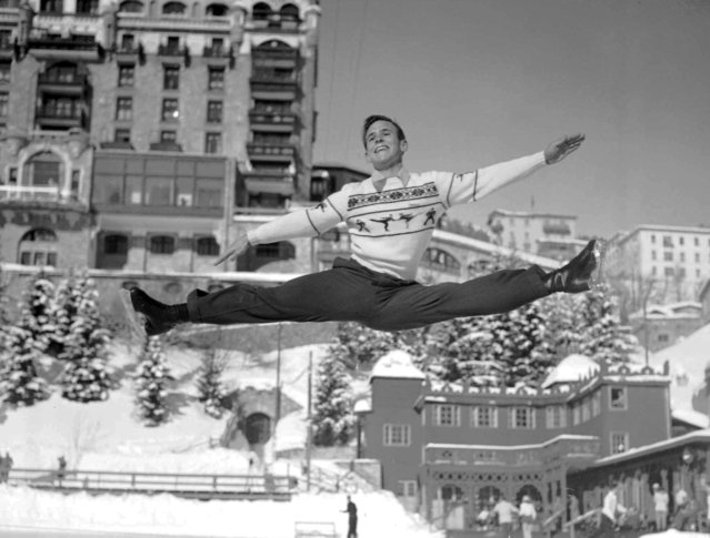 Richard Button of Englewood, N.J. who will represent the United States in the men's figure skating competition at the Winter Olympics at St. Moritz, Switzerland, makes a sensational leap during practice there, January 27, 1948. Button recently won the European figure skating for men in competition at Prague, Czechoslovakia.  Opening ceremonies for the St. Moritz games will take place Jan. 30, 1948. (Photo by AP Photo)