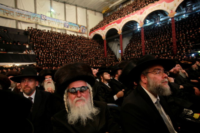 Ultra-orthodox Jewish wedding in Israel. Tens of thousands of Ultra-Orthodox Jews of the Belz Hasidic dynasty gather at the wedding ceremony of Rabbi Shalom Rokach in Kiryat Belz, in Jerusalem, on May 22, 2013. Around 25,000 ultra-orthodox Jews took part, making it one of the biggest weddings of the past few years. (Photo by Gil Cohen)