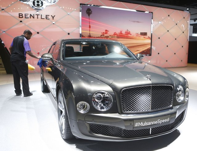 A 2015 Bentley Mulsanne Speed is detailed while on display during the first press preview day of the North American International Auto Show in Detroit, Michigan January 12, 2015. (Photo by Rebecca Cook/Reuters)