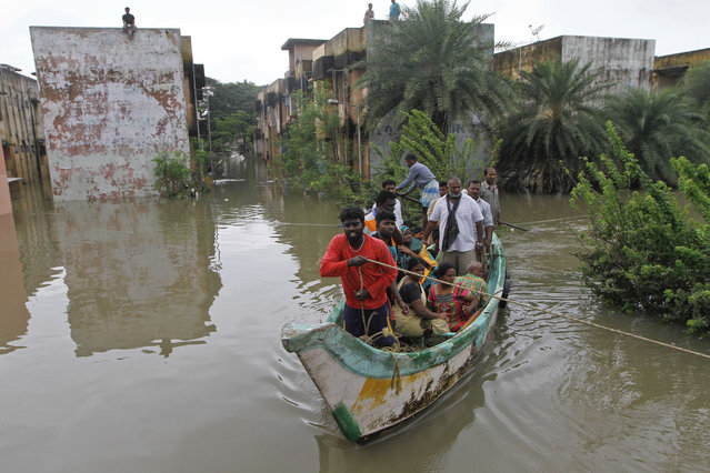Volunteers rescue flood affected people on a country boat from a residential area in Chennai, India, Thursday, December 3, 2015. (Photo by AP Photo)