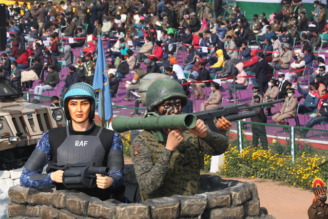 A Rapid Action Force (RAF) tableau is displayed during the 72nd Republic Day celebrations in New Delhi, India, 26 January 2021. The Republic Day of India marks the adoption of the constitution of India and the transition of the country to a Republic on 26 January 1950. (Photo by Harish Tyagi/EPA/EFE)