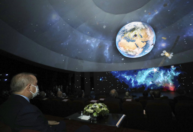 Turkish President Recep Tayyip Erdogan speaks in Ankara, Turkey, late Tuesday, February 9, 2021. Erdogan unveiled Tuesday an ambitious 10-year space program for his country, including missions to the moon, sending Turkish astronauts into space and developing internationally-competent satellite systems. (Photo by Turkish Presidency via AP Photo/Pool)