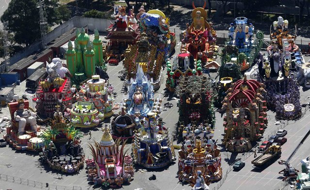 Carnival floats are seen in preparation for the annual carnival parade Sambodrome, in Sao Paulo February 12, 2015. (Photo by Paulo Whitaker/Reuters)