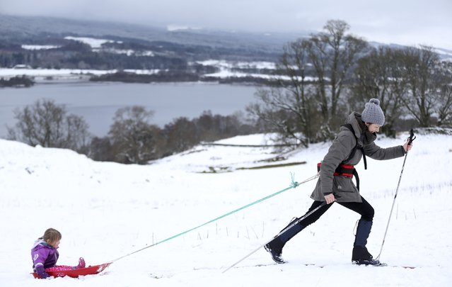 A woman on cross country skis tows a child on a sledge near LochTay in Scotland, Britain January 17, 2016. (Photo by Russell Cheyne/Reuters)
