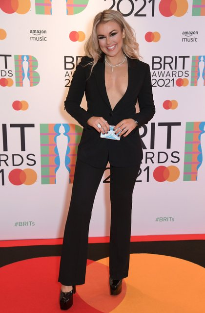Singer Tallia Storm arrives at The BRIT Awards 2021 at The O2 Arena on May 11, 2021 in London, England. (Photo by John Marshall/Handout via Reuters)