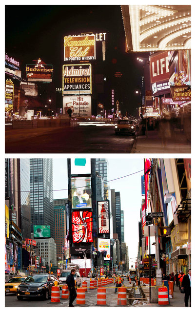 "This combination shows the September 1957 photo ""Neon billboards on Times Square"" by Weegee, provided by the International Center of Photography in New York, and the same vantage point on Thursday, March 19, 2015. (Photo by AP Photo/Copyright Weegee/The International Center of Photography, Mark Lennihan)"