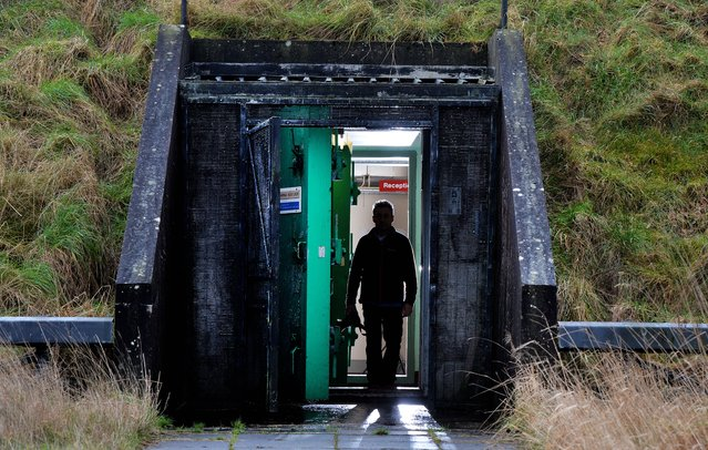 The main entrance and blast door at the nuclear bunker site on the Woodside Road industrial estate on February 4, 2016 in Ballymena, Northern Ireland. The underground shelter has been put up for sale by the offices of the Northern Ireland First and Deputy First Minister. The bunker which was completed in 1990 was built to hold up to 235 people in the event of a nuclear bomb and is complete with kitchen facilities, dormitories and decontamination chambers. (Photo by Charles McQuillan/Getty Images)