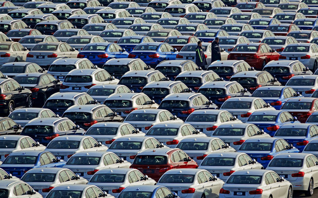 BMW cars are seen at the automobile terminal in the port of Dalian, Liaoning province, China January 9, 2019. (Photo by Reuters/China Stringer Network)