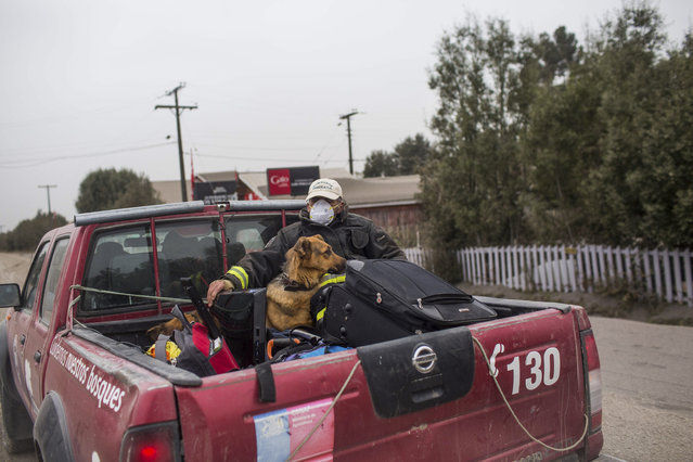 People evacuate the town of Ensenada, Chile after the Calbuco volcano erupted Thursday, April 23, 2015. (Photo by Pablo Sanhueza Gutierrez/AP Photo)