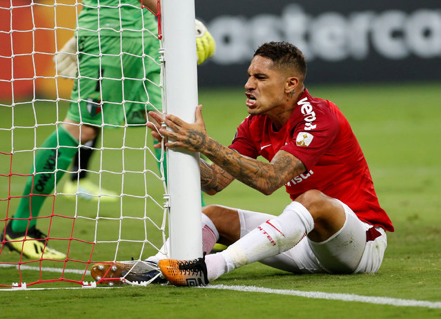 Paolo Guerrero of Brazil's Internacional reacts after missing an opportunity to score during a Copa Libertadores soccer match against Chile's Palestino in Porto Alegre, Brazil, Tuesday, April 9, 2019. (Photo by Diego Vara/Reuters)