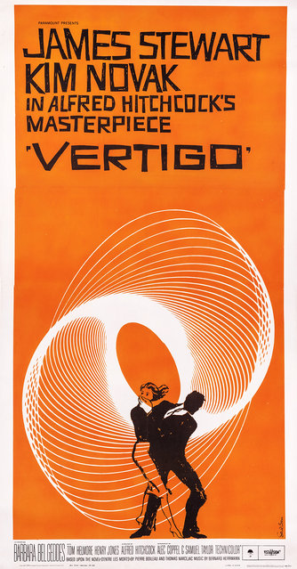 """Vertigo (Paramount, 1958). Three Sheet (41"""" X 78""""). Saul Bass created this memorable image for the cinematic masterpiece starring James Stewart and Kim Novak. The film remains one of Alfred Hitchcock's most critically acclaimed films, and this poster is definitely one of the more recognizable images in cinematic history. Estimate: $8,000 - $12,000. (Photo by Courtesy Heritage Auctions)"""