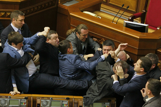 Deputies clash during a session of the parliament in Kiev, April 8, 2014. (Photo by Valentyn Ogirenko/Reuters)