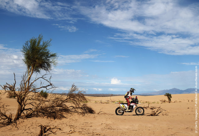 David Fretigne of France and the Husqvarna Rallaye Team in action during stage five of the 2012 Dakar Rally