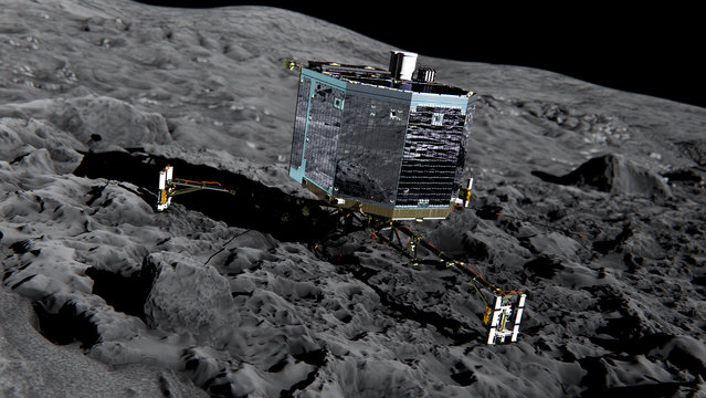 This undated  artist impression  by ESA /ATG medialab ,  publicly provided by the European Space Agency,  ESA, shows Rosetta's lander Philae (front view) on the surface of comet 67P/Churyumov-Gerasimenko. The German space agency DLR, which controls the lander, says it received data from Philae over a 22-minute period late Thursday July 9, 2015, though the connection broke off several times. (Photo by ESA/ATG medialab/ESA via AP Photo)
