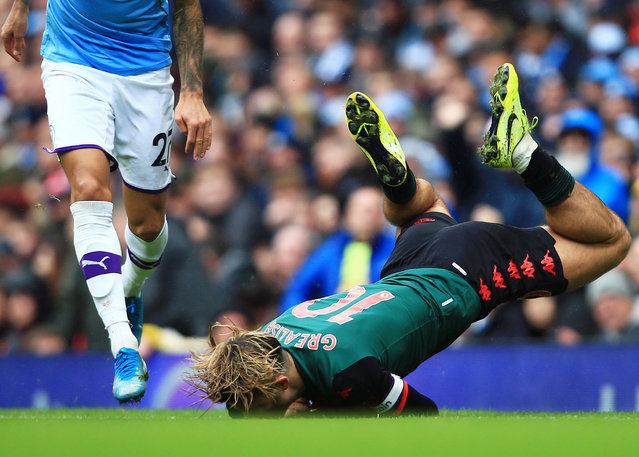 Jack Grealish of Aston Villa hits the ground at the Etihad as Manchester City scored three second-half goals to overcome the visitors at Etihad Stadium in Manchester, England on October 26, 2019. (Photo by Matt West/BPI/Rex Features/Shutterstock)