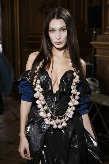 Bella Hadid poses backstage before the Vivienne Westwood Womenswear Fall/Winter 2020/2021 show as part of Paris Fashion Week on February 29, 2020 in Paris, France. (Photo by Francois Durand/Getty Images)