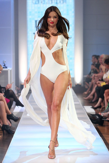 Model Miranda Kerr showcases designs by Carla Zampatti during the David Jones S/S 2012/13 Season Launch at David Jones Castlereagh Street on August 14, 2012 in Sydney, Australia