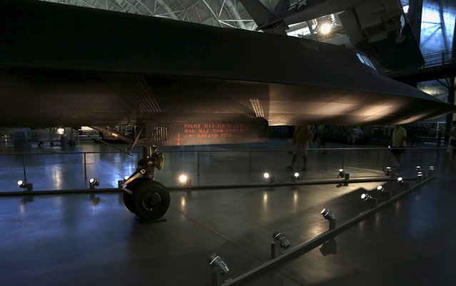 A Lockheed SR-71 Blackbird is seen at the Udvar-Hazy Smithsonian National Air and Space Annex Museum in Chantilly, Virginia August 28, 2015. (Photo by Gary Cameron/Reuters)
