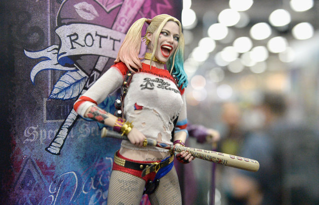 """Harley Quinn from """"Suicide Squad"""" figurine displayed at Comic-Con International 2016 preview night on July 20, 2016 in San Diego, California. (Photo by Matt Cowan/Getty Images)"""