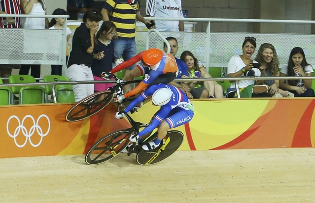 2016 Rio Olympics, Cycling Track, Preliminary, Women's Keirin First Round, Rio Olympic Velodrome, Rio de Janeiro, Brazil on August 13, 2016. Laurine van Riessen (NED) of Netherlands and Virginie Cueff (FRA) of France compete. (Photo by Paul Hanna/Reuters)