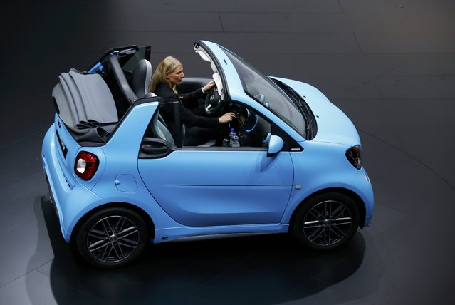 Smart fortwo cabrio car is presented during the media day at the Frankfurt Motor Show (IAA) in Frankfurt, Germany, September 15, 2015. (Photo by Ralph Orlowski/Reuters)