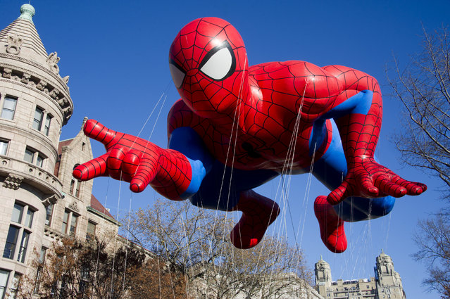 This November 24, 2011 file photo shows the Spider-Man balloon during the Macy's Thanksgiving Day Parade in New York. (Photo by Charles Sykes/AP Photo)