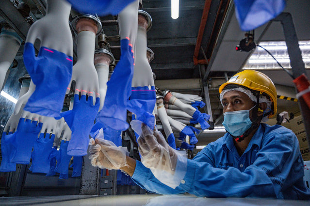 A worker inspects disposable gloves at the Top Glove factory in Shah Alam on the outskirts of Kuala Lumpur on August 26, 2020. Top Glove, a Malaysian-based company is one of the world's largest rubber glove manufacturer. (Photo by Mohd Rasfan/AFP Photo)