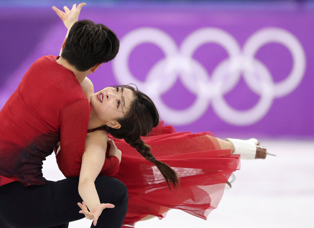 USA' s Maia Shibutani and USA' s Alex Shibutani compete in the ice dance free dance of the figure skating event during the Pyeongchang 2018 Winter Olympic Games at the Gangneung Ice Arena in Gangneung on February 20, 2018. (Photo by Lucy Nicholson/Reuters)