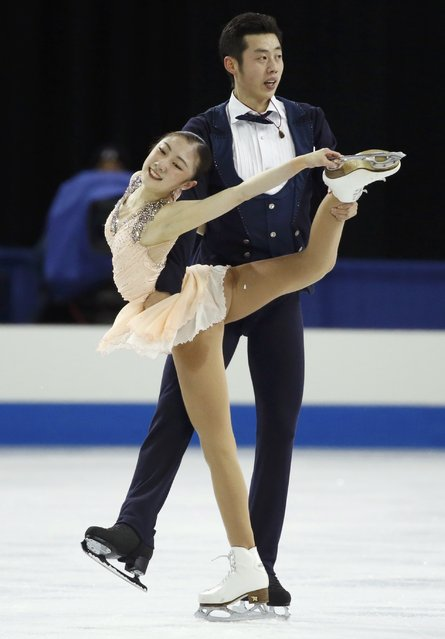 Wang Xuehan and Wang Lei of China perform during the pairs free skate program at the Skate America figure skating competition in Milwaukee, Wisconsin October 24, 2015. (Photo by Lucy Nicholson/Reuters)