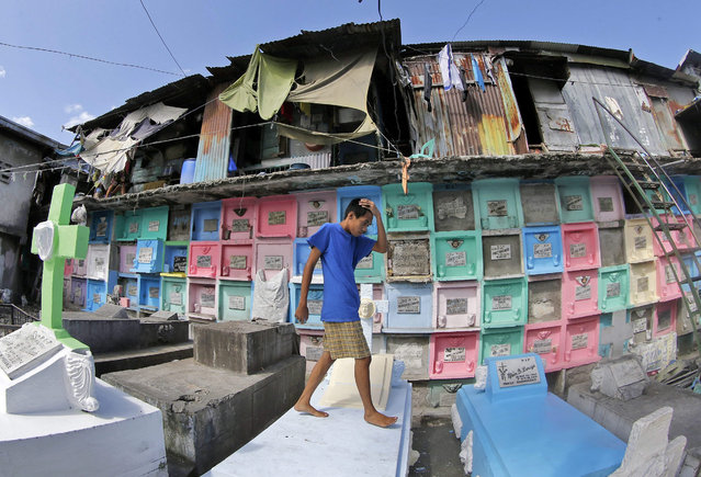 A Filipino informal settler living on top of graves walks among tombs ahead of All Saints Day, in Manila's North Cemetery, Philippines, 29 October 2015. More than one million people are buried in the North Cemetery, including former presidents, national artists and movie stars and at least 100 burials are held every week at the 54-hectare site. (Photo by Francis R. Malasig/EPA)