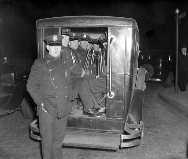 Riot squad on duty at state prison, 1935. (Photo by Leslie Jones)