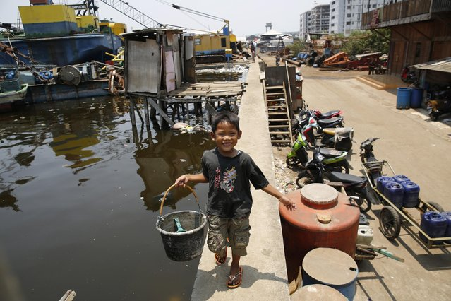 A child returns from using a latrine along the sea wall in Muara Baru, north Jakarta, September 30, 2014. (Photo by Darren Whiteside/Reuters)