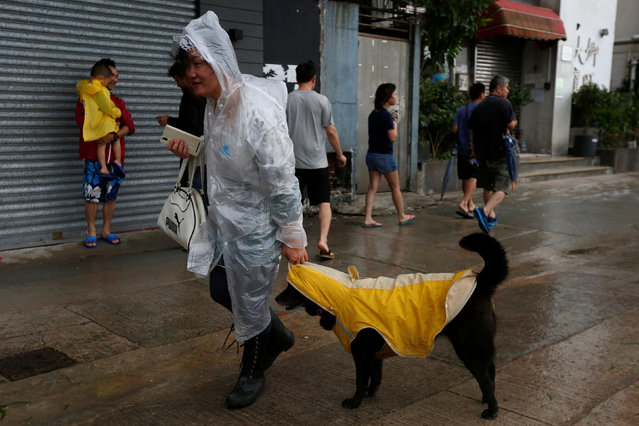 A woman and her dog dress in raincoats as they walk while Typhoon Haima approaches in Hong Kong, China, October 21, 2016. (Photo by Bobby Yip/Reuters)
