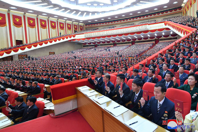 This picture taken on January 5, 2021 and released from North Korea's official Korean Central News Agency (KCNA) on January 6, 2021 shows attendees during the first day of the 8th Congress of the Workers' Party of Korea (WPK) in Pyongyang. (Photo by KCNA via KNS/AFP Photo)