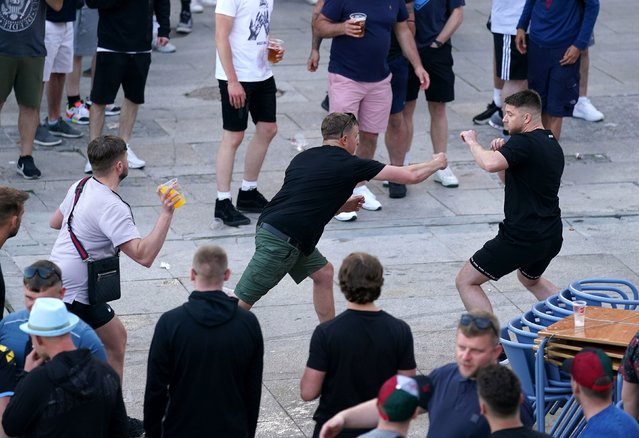 Football fans clash ahead of the UEFA Champions League final in Porto, Portugal on Friday, May 28, 2021. (Photo by Adam Davy/PA Images via Getty Images)